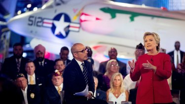 Democratic presidential candidate Hillary Clinton with Today show co-anchor Matt Lauer at the NBC Commander-In-Chief Forum held in New York on September 7, 2016.
