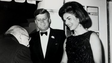 President John Kennedy and First Lady Jacqueline Kennedy greet composer Igor Stravinsky at a White House dinner in 1962.