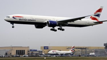 A British Airways flight landing. The pilot of the flight from Geneva, carrying 132 passengers and five crew, reported an object hitting the front of the Airbus A320. A British Airways spokesman said it had not been damaged.