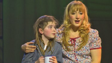 Elise McCann (Miss Honey) with Molly Barwick (left), who played Matilda in the Sydney production of Matilda.
