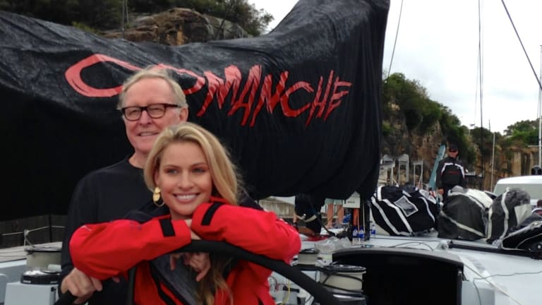 Kristy Hinze-Clark and Jim Clark on board Comanche.