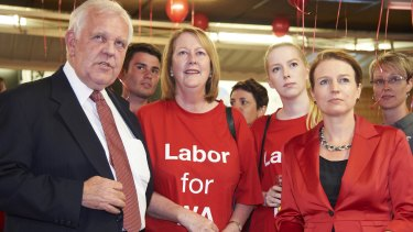 Joe Bullock with Labor senate candidates Louise Pratt (right).