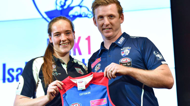 Top pick: Isabel Huntington with AFLW Bulldogs coach Paul Groves.