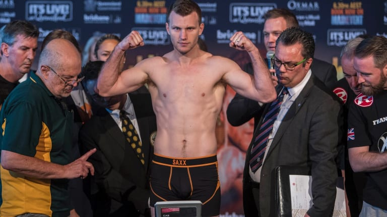 Last-ditch effort: Jeff Horn makes weight at the Brisbane Exhibition and Entertainment Centre.