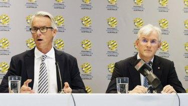 Tough fortnight: Football Federation Australia chief executive David Gallop and chairman Steven Lowy.