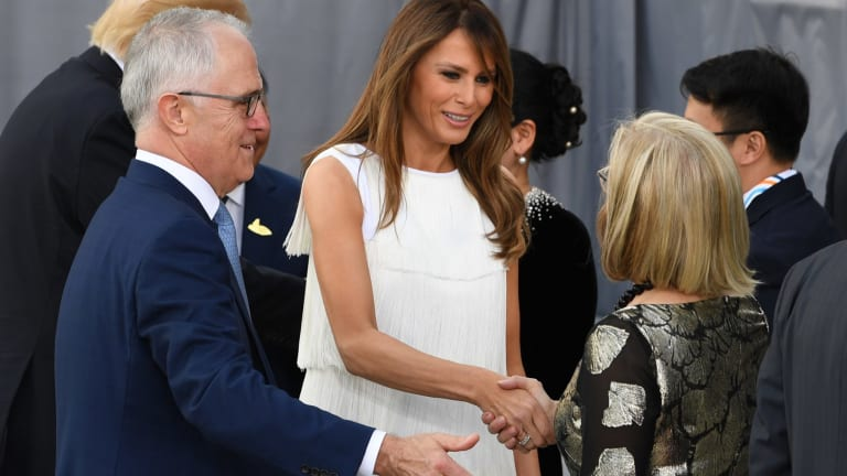 Malcolm Turnbull and his wife Lucy greet US First Lady Melania Trump during the G20 summit.