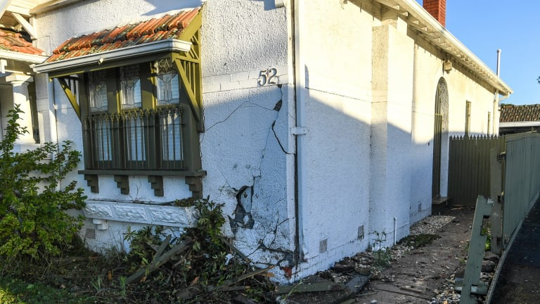 The house in Coburg that a car crashed into last night.