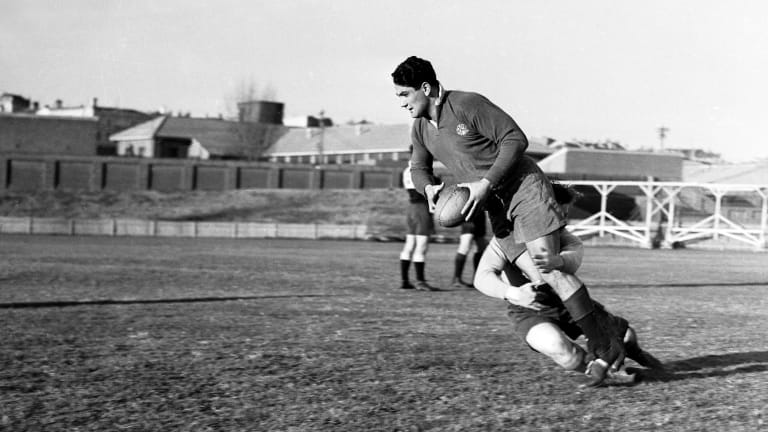 Home turf: Australian rugby union footballer Nicholas Shehadie training for Randwick in 1947.