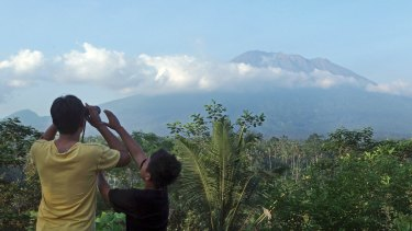 Rising smoke has been seen from Mount Agung, pictured here on Wednesday.