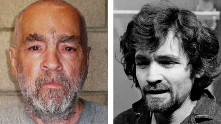 Charles Manson pictured about eight years ago and, right, how he appeared at his trial in 1970.