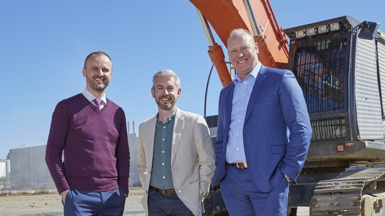 Chief Minister Andrew Barr, Microsoft's James Kavanagh and Canberra Data Centres boss Greg Boorer.