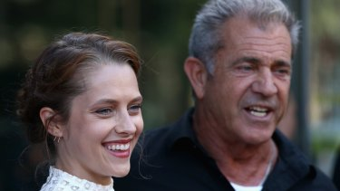 Hacksaw Ridge star Teresa Palmer and director Mel Gibson.