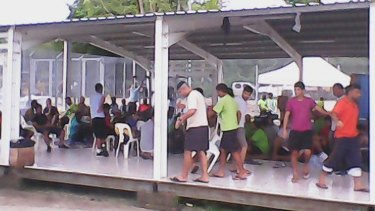 Asylum seekers inside the Manus Island detention centre in Papua New Guinea.
