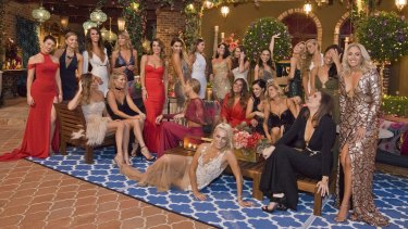 Contestants on season four of <i>The Bachelor</i> pose in front of the 'spectacular Tuscan villa'.