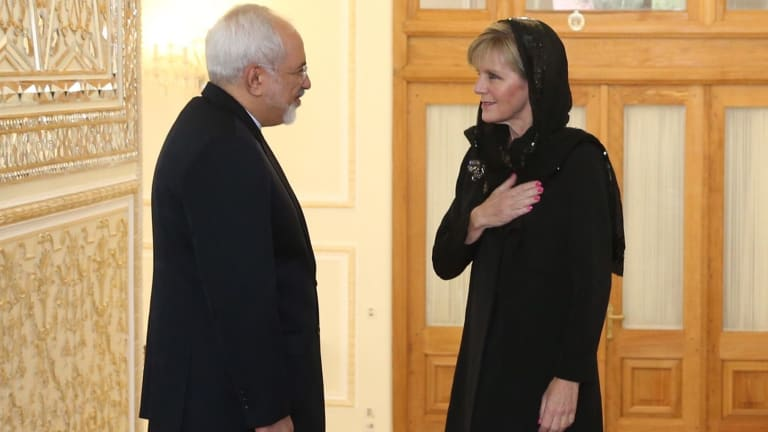 Foreign Affairs Minister Julie Bishop meets with Iran Foreign Affairs Minister Dr Mohammad Javad Zarif in Tehran last year.