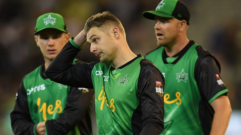 From left: Dejected stars Adam Zampa, Luke Wright and Michael Beer react to another loss.