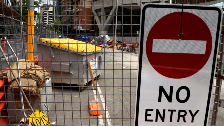 Construction of the light rail line along George Street shows few signs of progress.