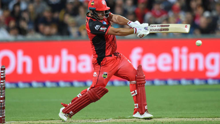 Aaron Finch of the Melbourne Renegades plays a shot during their BBL clash against the Sydney Sixers.