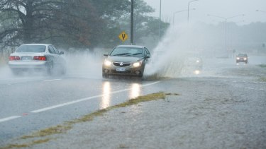 Heavy rain on Fairbairn Ave on Sunday.