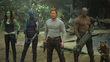 Misfit aliens: Gamora (Zoe Saldana), Nebula (Karen Gillan), Star-Lord/Peter Quill (Chris Pratt), Drax (Dave Bautista) and Rocket (voiced by Bradley Cooper) in <i>Guardians of the Galaxy Vol. 2</i>.