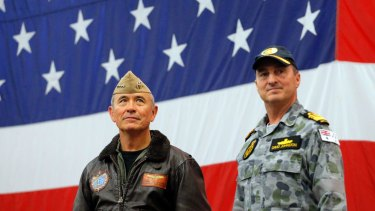 US Navy Admiral Harry Harris, left, and Australian Navy Vice Admiral David Johnston at the start of Talisman Saber 2017, a biennial joint military exercise between the United States and Australia in June.