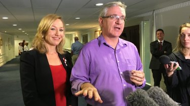 Greens Queensland candidates Larissa Waters and Andrew Bartlett.