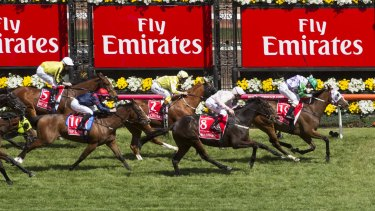 Michelle Payne riding Prince of Penzance wins the 2015 Melbourne Cup.