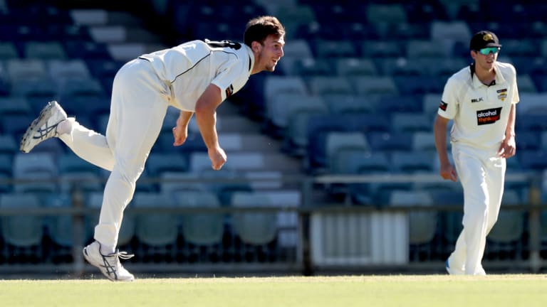 Mitch Marsh bowls for the Warriors.