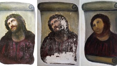 'Pale monkey': (from left) The original version of the painting <i>Ecce Homo</i> by 19th-century painter Elias Garcia Martinez, the deteriorated version and the restored version by Cecilia Gimenez.