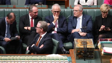 Waiting game: Prime Minister Malcolm Turnbull with frontbenchers Josh Frydenberg, Barnaby Joyce, Christopher Pyne, Scott Morrison and Julie Bishop in the House of Representatives on Friday.