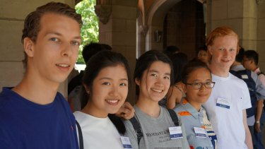 Students who attained ATARs of 99.9 or higher gather at University of Melbourne's Old Quad: Max Collett, Katie Yang, Jiao Mei He, Liu Xin Zhang and Alex Stella.