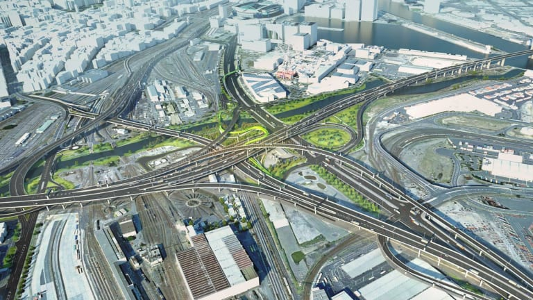 An artist's impression of the proposed series of flyovers to be built as part of the West Gate Tunnel.