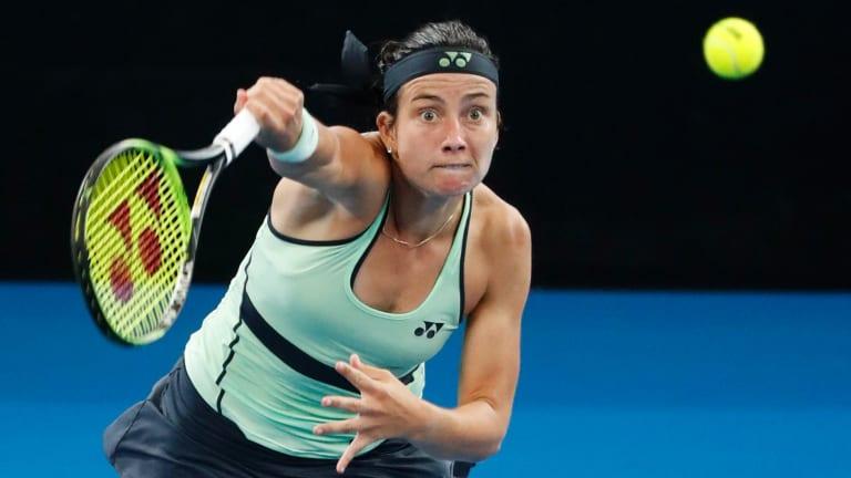 Too strong: Anastasija Sevastova sends down a first serve.