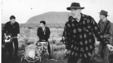 A 1986 photo of Midnight Oil touring Aboriginal communities.