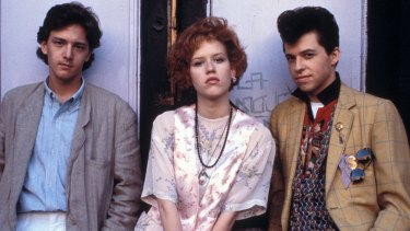 Andrew McCarthy, Molly Ringwald and Jon Cryer in Pretty In Pink.