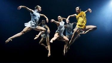 Members of Sydney Dance Company in full flight in Cinco.