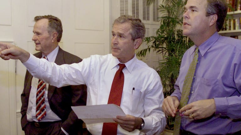 The three presidents?  George H.W., George W. and Jeb Bush in 2000.