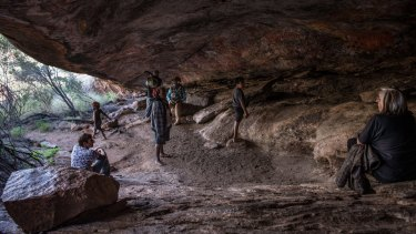 Traditional owners gather at Cave Hill with National Museum of Australia staff.