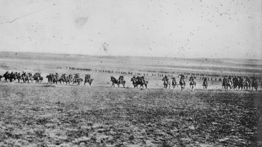 This photograph has been described as being of the charge of the 4th Light Horse Brigade at Beersheba on the 31st October 1917, but is now believed to have been taken by photographer Frank Hurley in February 1918.