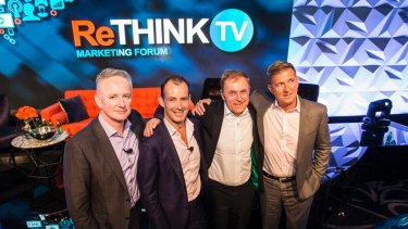 Think TV members (from left) Nine CEO Hugh Marks, Ten CEO Paul Anderson, Foxtel CEO Peter Tonagh and Seven CEO Tim Worner.