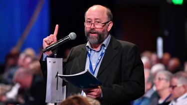 David van Gend debating a resolution at the LNP state convention in Brisbane in July.