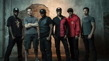 Prophets of Rage featuring Chuck D, third from the left.