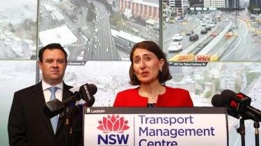 Premier Gladys Berejiklian and WestConnex Minister Stuart Ayres announce the rebate on Monday.