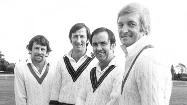 Richie Benaud (right) shows his stylish flair with (from left) Ian Chappell, Bill Lawry and Bob Simpson in 1977.