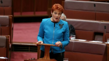 Senator Pauline Hanson delivers her first speech in the Senate.