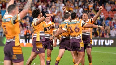 Captain precarious: Broncos skipper Justin Hodges (right) is in danger of missing the NRL grand final.