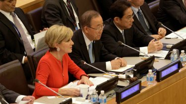 Minister for Foreign Affairs Julie Bishop speaks during the Friends of the Comprehensive Test Ban Treaty meeting with UN Secretary General Ban Ki-moon and Japanese Foreign Minister Fumio Kishida.