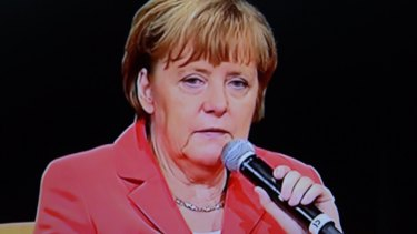 Chancellor Angela Merkel addresses the Lowy Insitute in Sydney on Monday.
