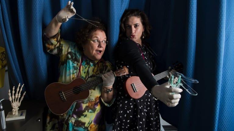 GP the Musical performers Dr Linda Mann and Dr Anna Sallos.
