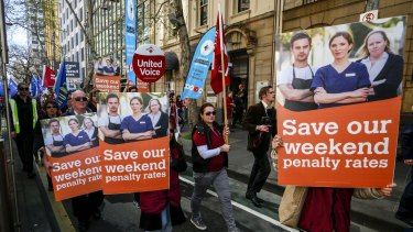 A rally organised by the ACTU marches against the continued attacks against penalty rates for workers last year.